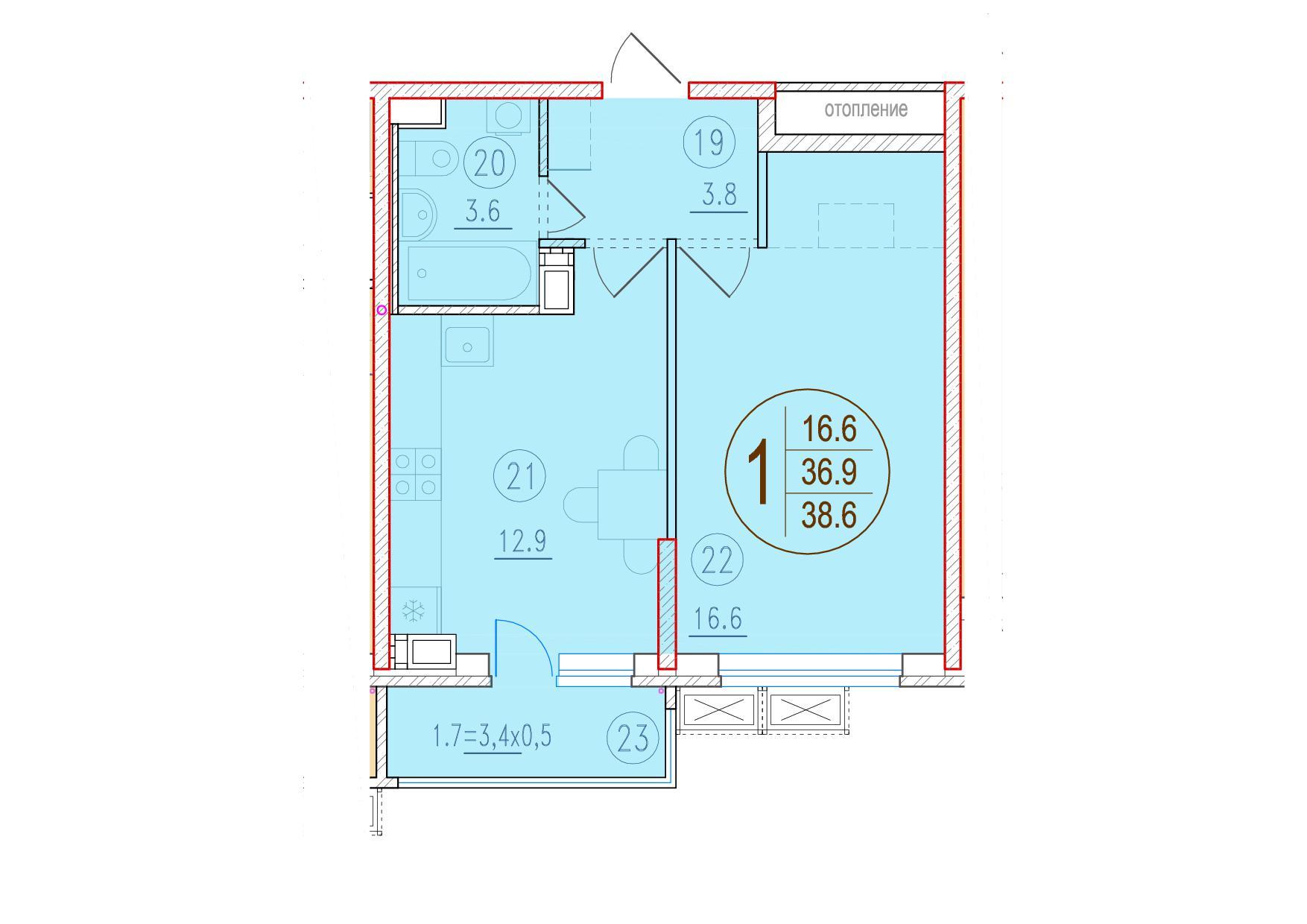 1-комнатная 38.6<span>м<sup>2</sup></span>