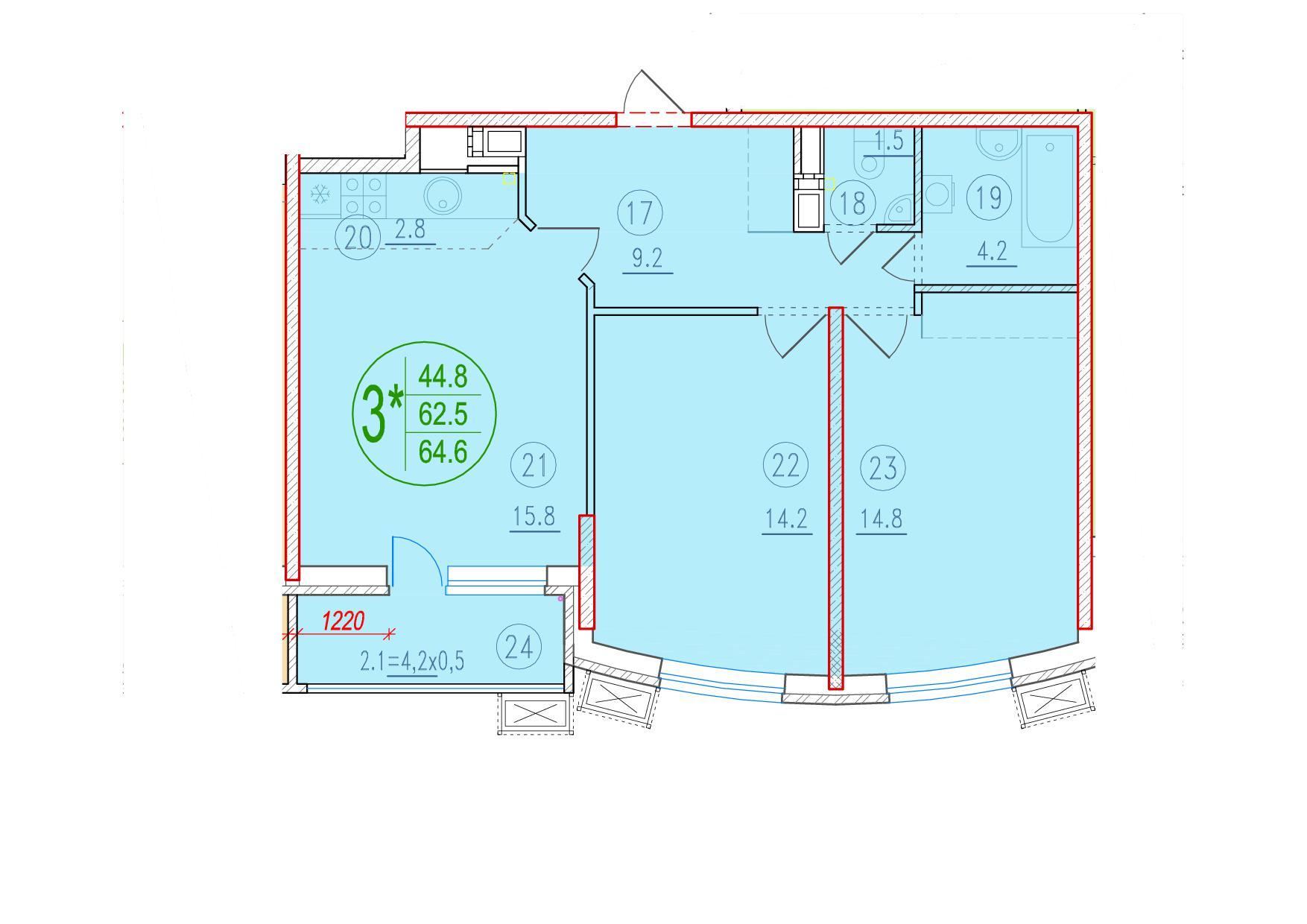 3-комнатная смарт 64.6<span>м<sup>2</sup></span>