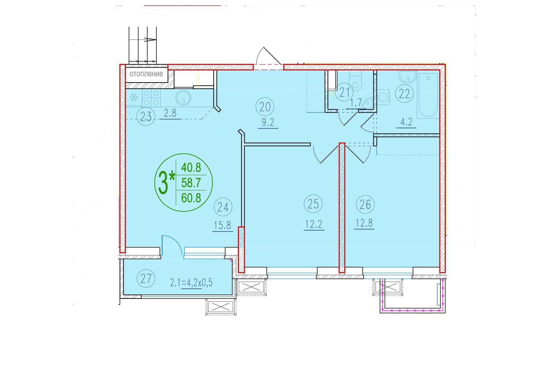 3-комнатная смарт 60.8<span>м<sup>2</sup></span>