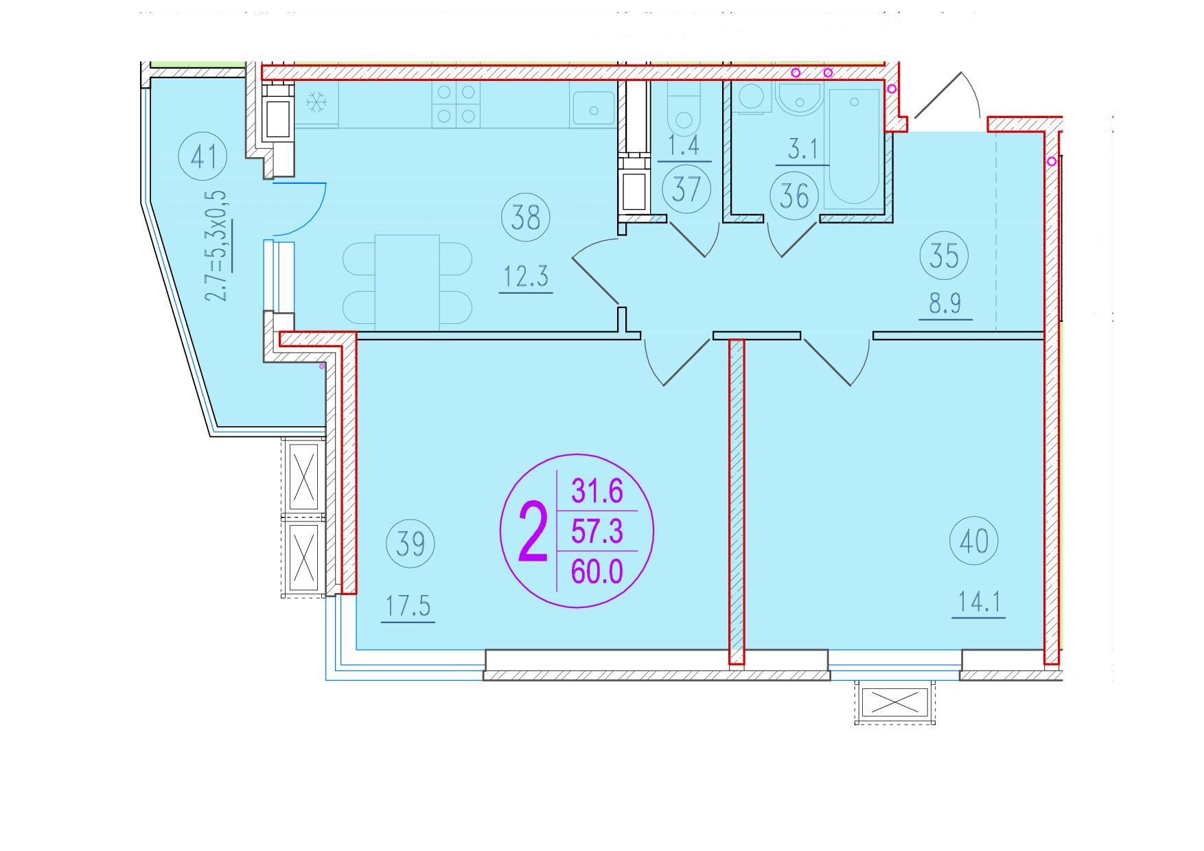 2-комнатная 60<span>м<sup>2</sup></span>