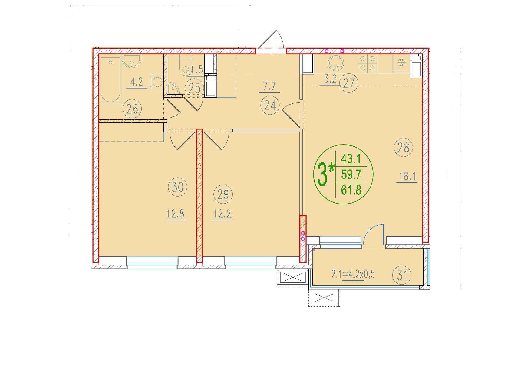 3-комнатная смарт 61.8<span>м<sup>2</sup></span>