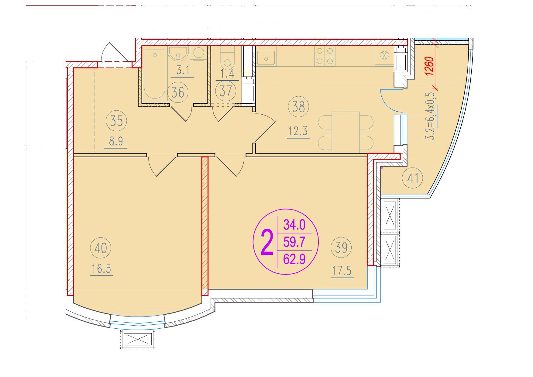 2-комнатная 62.9<span>м<sup>2</sup></span>