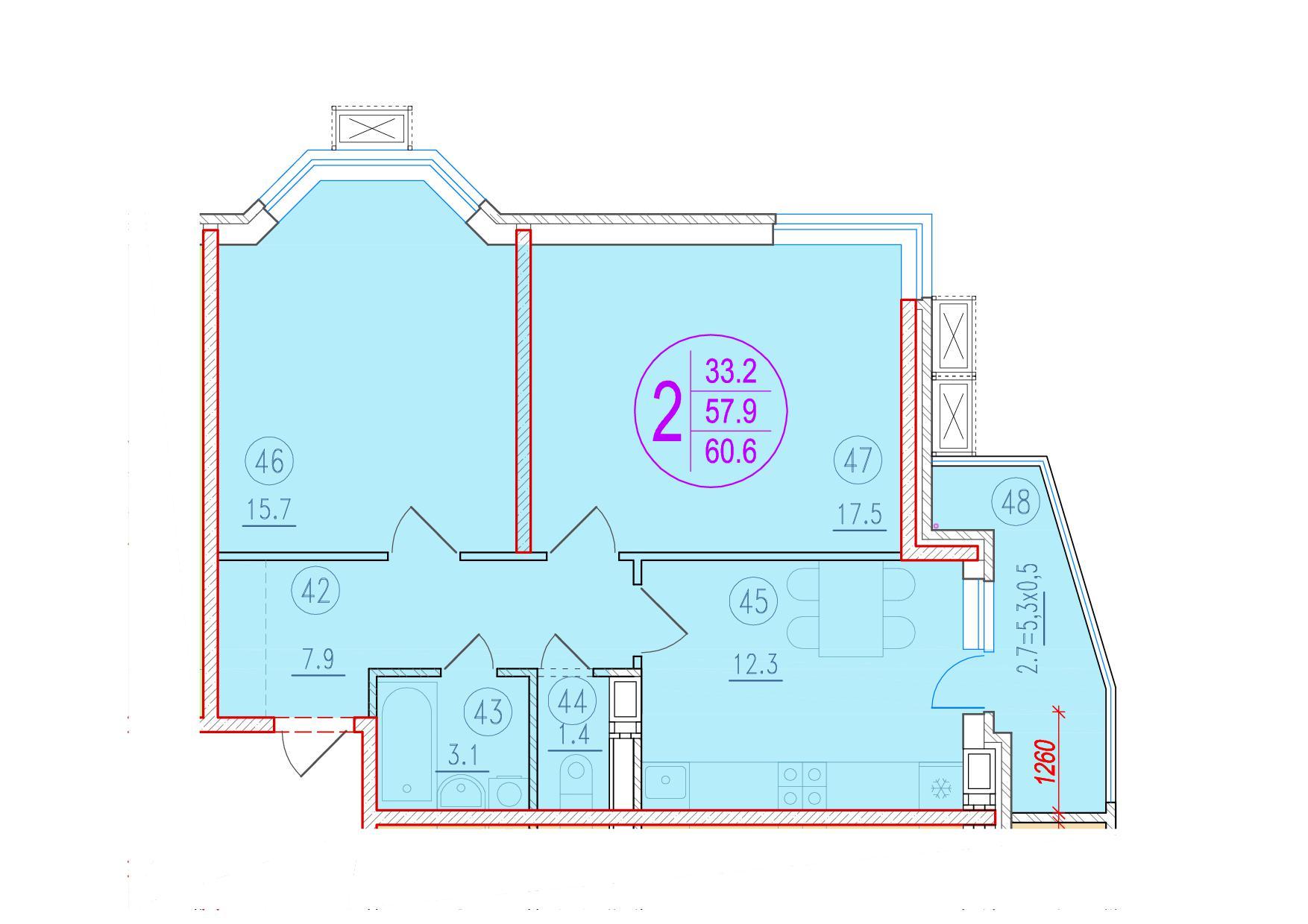2-комнатная 60.6<span>м<sup>2</sup></span>