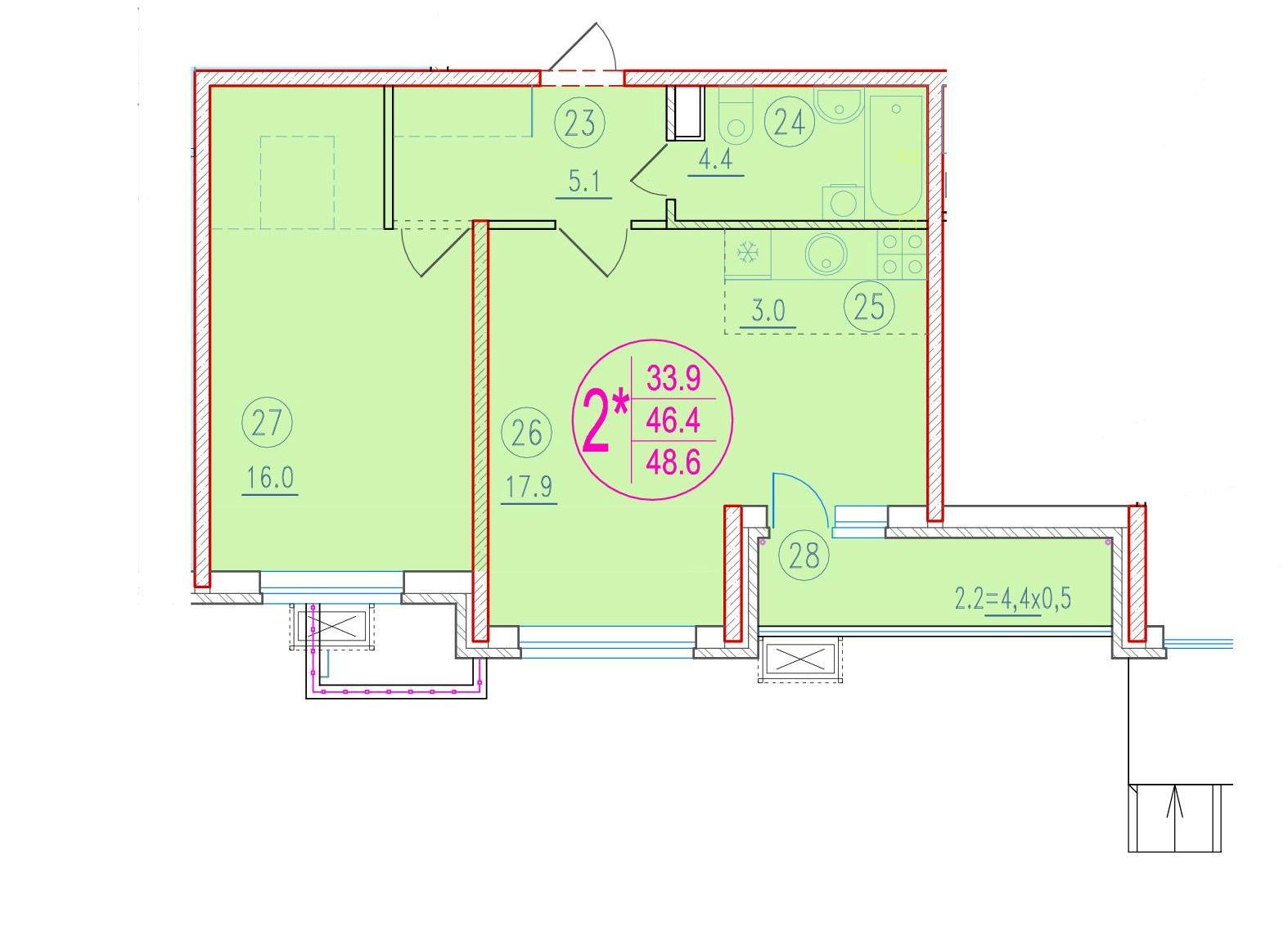 2-комнатная смарт 48.6<span>м<sup>2</sup></span>