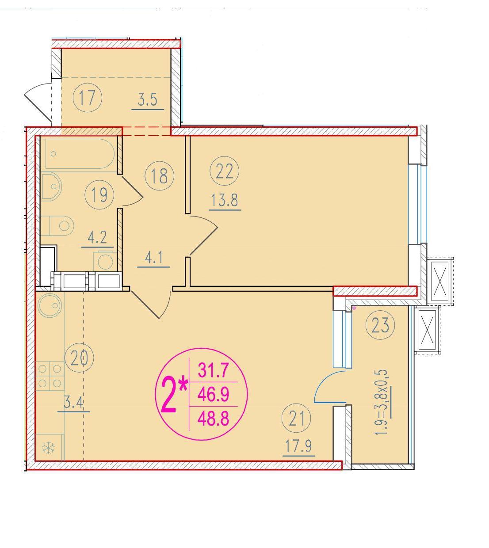 2-комнатная смарт 48.8<span>м<sup>2</sup></span>