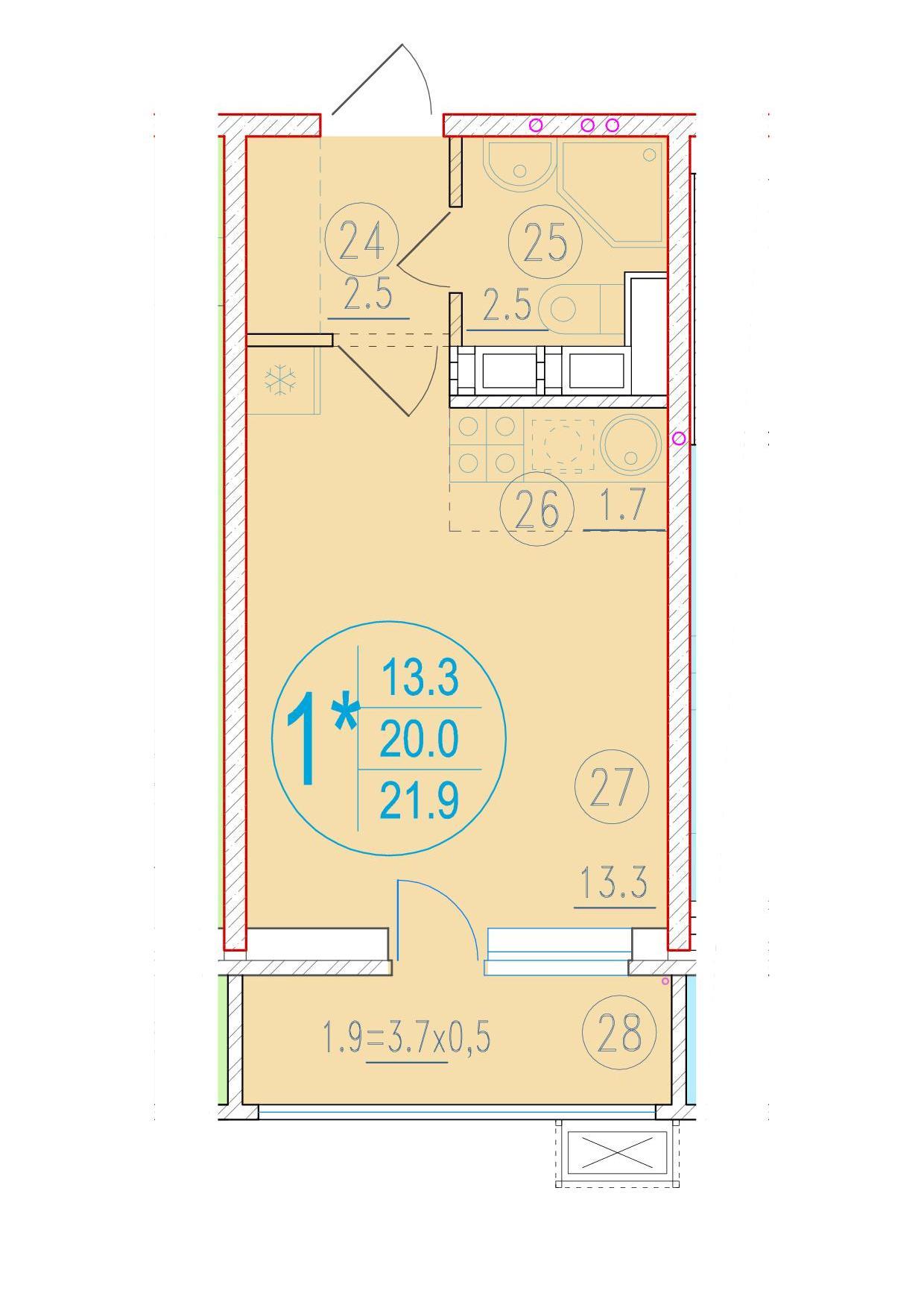 1-комнатная смарт 21.9<span>м<sup>2</sup></span>