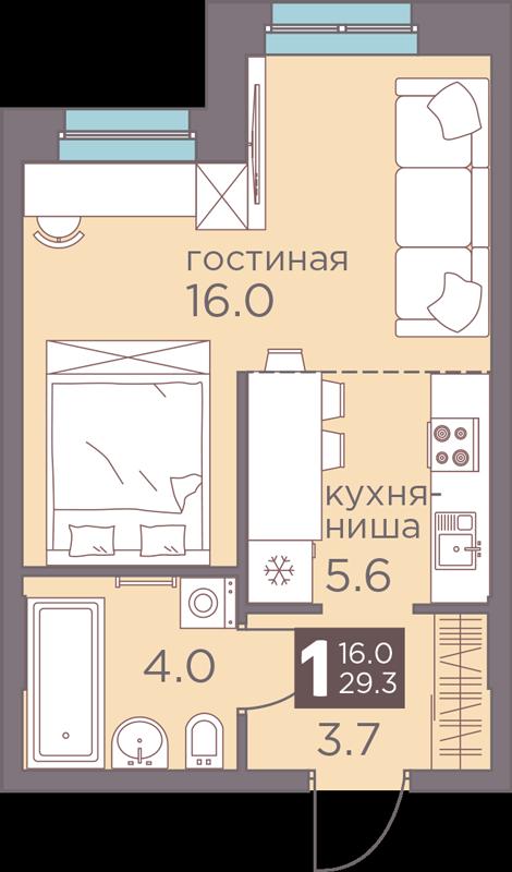 1-комнатная смарт 29.3<span>м<sup>2</sup></span>