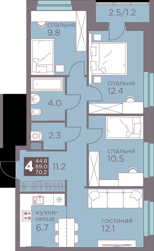 4-комнатная смарт 70.2<span>м<sup>2</sup></span>