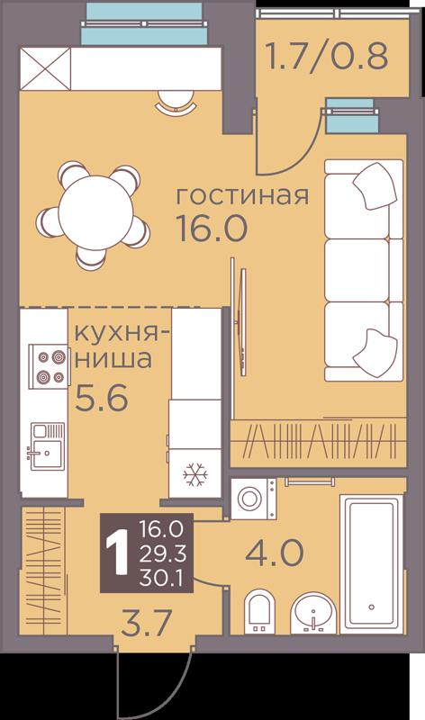 1-комнатная смарт 30.1<span>м<sup>2</sup></span>