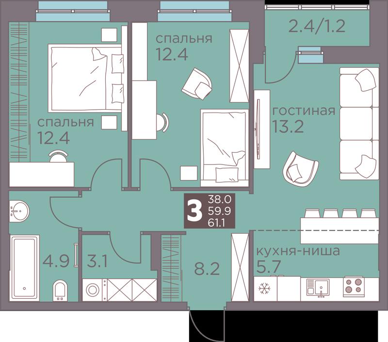 3-комнатная смарт 61.1<span>м<sup>2</sup></span>