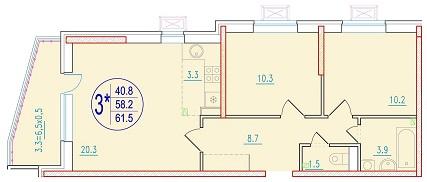3-комнатная смарт 61.5<span>м<sup>2</sup></span>
