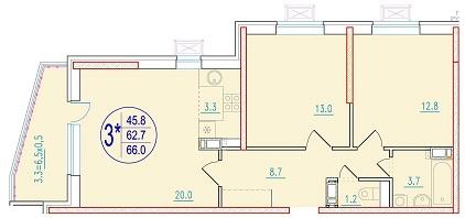 3-комнатная смарт 66<span>м<sup>2</sup></span>
