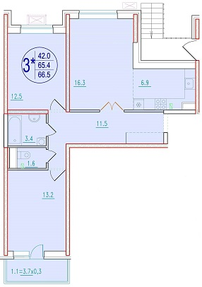 3-комнатная смарт 66.5<span>м<sup>2</sup></span>