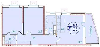 3-комнатная смарт 65<span>м<sup>2</sup></span>