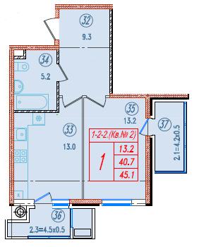 1-комнатная 45.1<span>м<sup>2</sup></span>