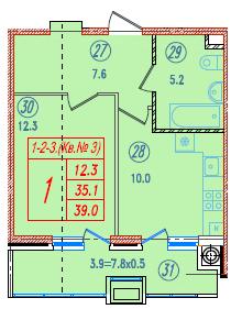 1-комнатная 39<span>м<sup>2</sup></span>