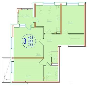 3-комнатная 72.2<span>м<sup>2</sup></span>