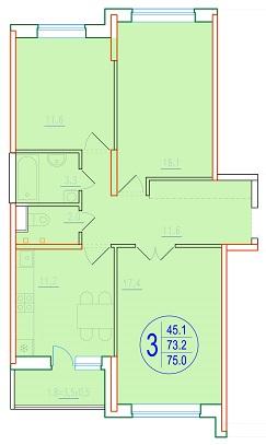 3-комнатная 75<span>м<sup>2</sup></span>