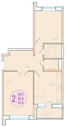 2-комнатная 57.6<span>м<sup>2</sup></span>