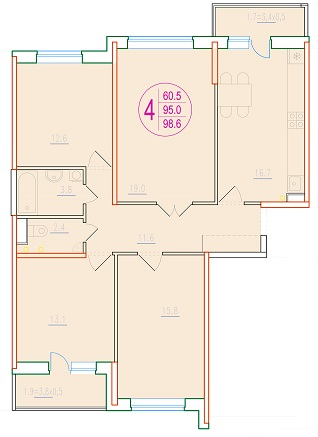 4-комнатная 98.6<span>м<sup>2</sup></span>