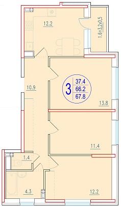 3-комнатная 67.8<span>м<sup>2</sup></span>
