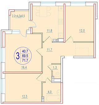 3-комнатная 71.7<span>м<sup>2</sup></span>