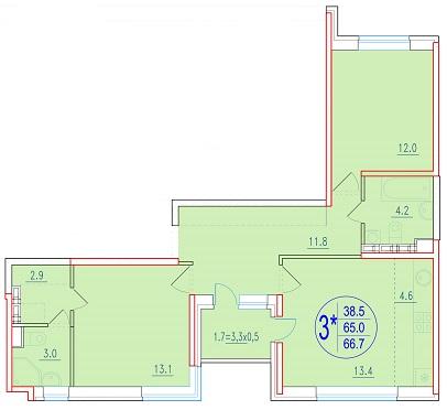 3-комнатная смарт 66.7<span>м<sup>2</sup></span>