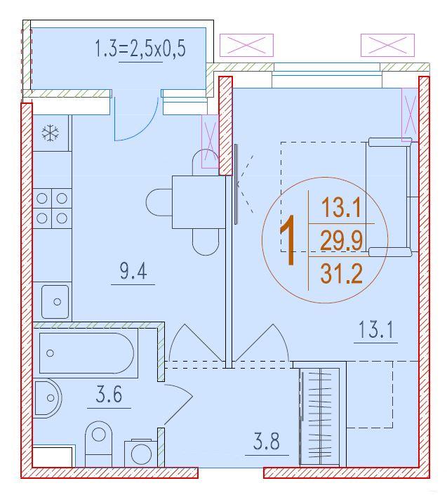 1-комнатная 31.2<span>м<sup>2</sup></span>