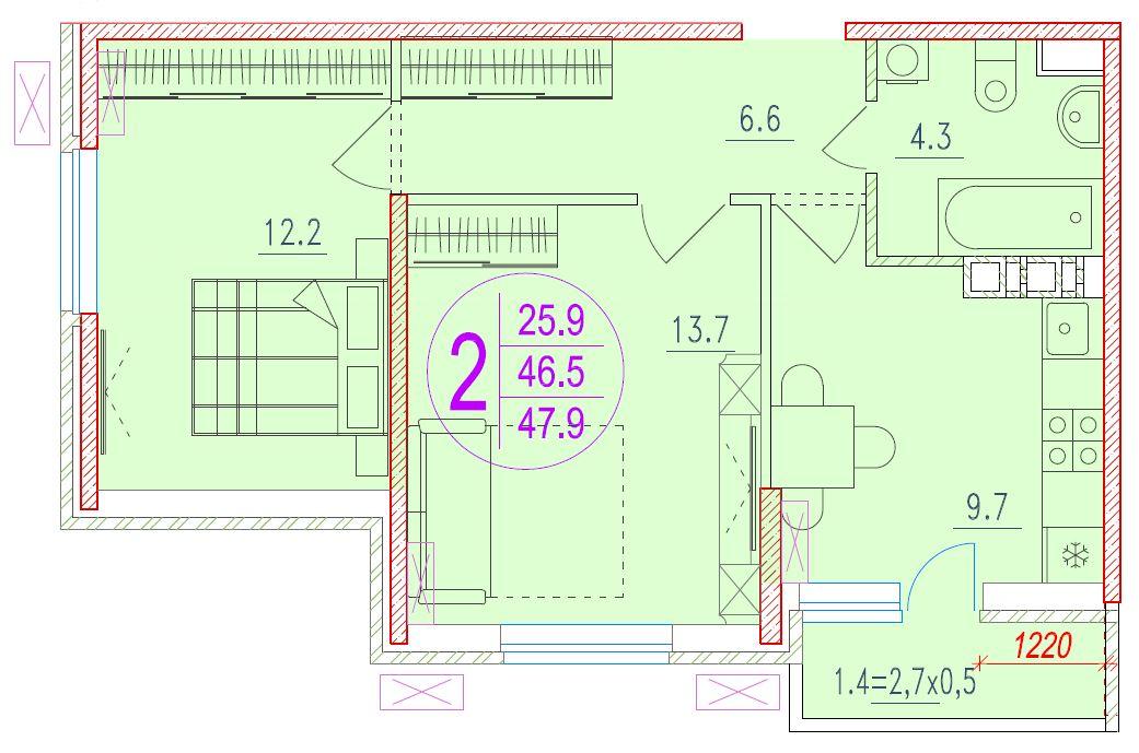 2-комнатная 47.9<span>м<sup>2</sup></span>
