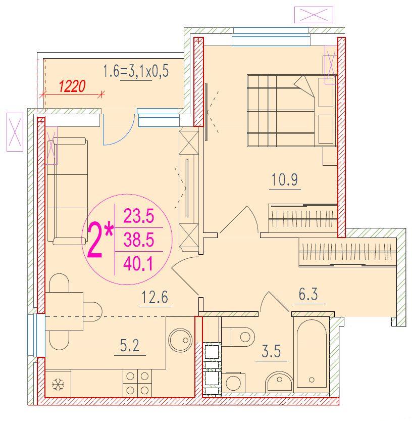 2-комнатная смарт 40.1<span>м<sup>2</sup></span>