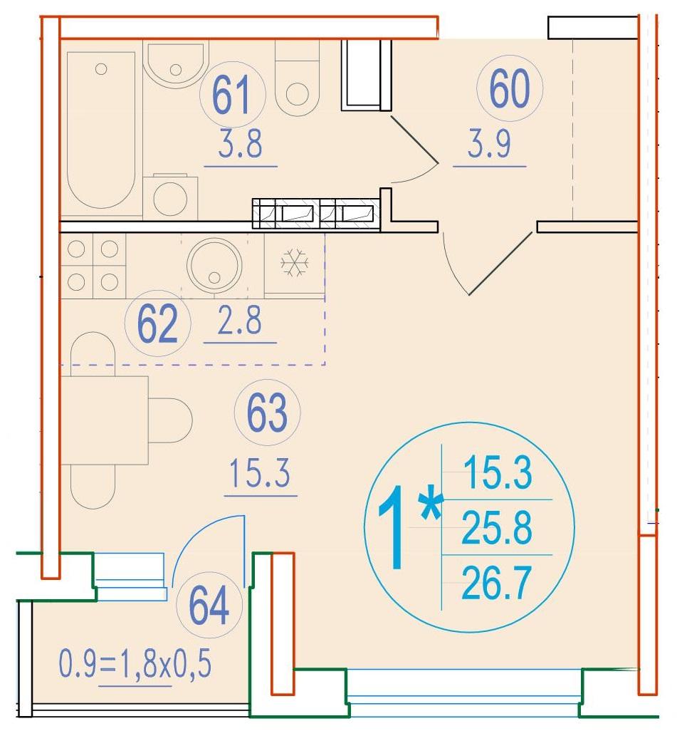 1-комнатная смарт 26.7<span>м<sup>2</sup></span>