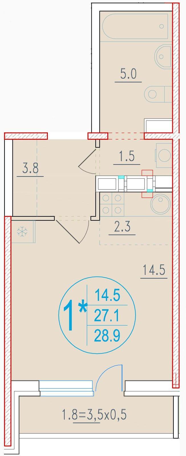 1-комнатная смарт 28.9<span>м<sup>2</sup></span>