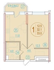 1-комнатная 33<span>м<sup>2</sup></span>