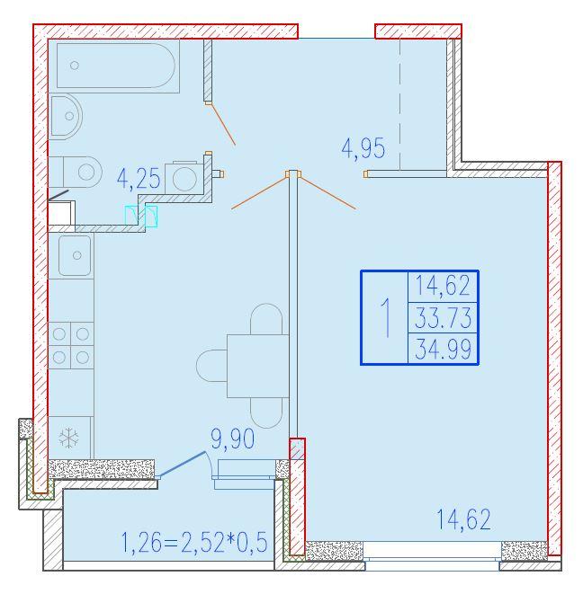 1-комнатная 34.99<span>м<sup>2</sup></span>