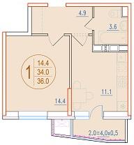 1-комнатная 36<span>м<sup>2</sup></span>