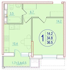 1-комнатная 36.5<span>м<sup>2</sup></span>