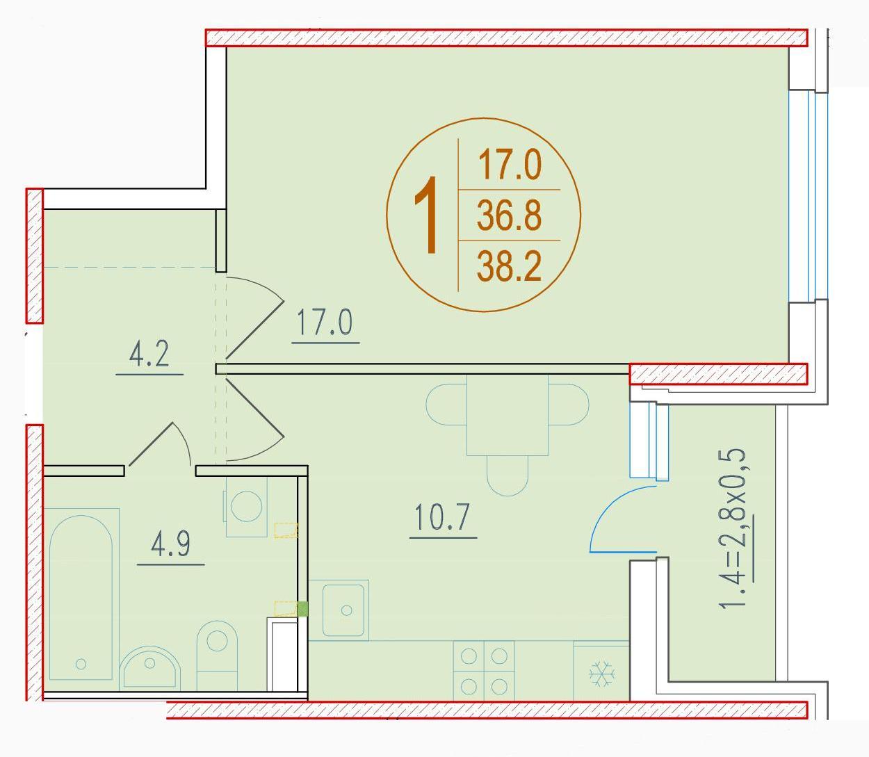 1-комнатная 38.2<span>м<sup>2</sup></span>