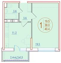 1-комнатная 40.4<span>м<sup>2</sup></span>