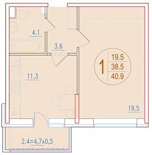 1-комнатная 40.9<span>м<sup>2</sup></span>