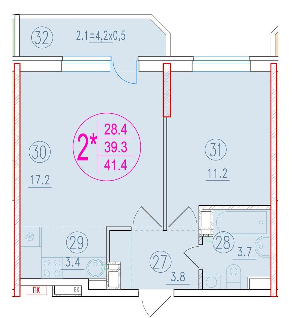 2-комнатная смарт 41.4<span>м<sup>2</sup></span>