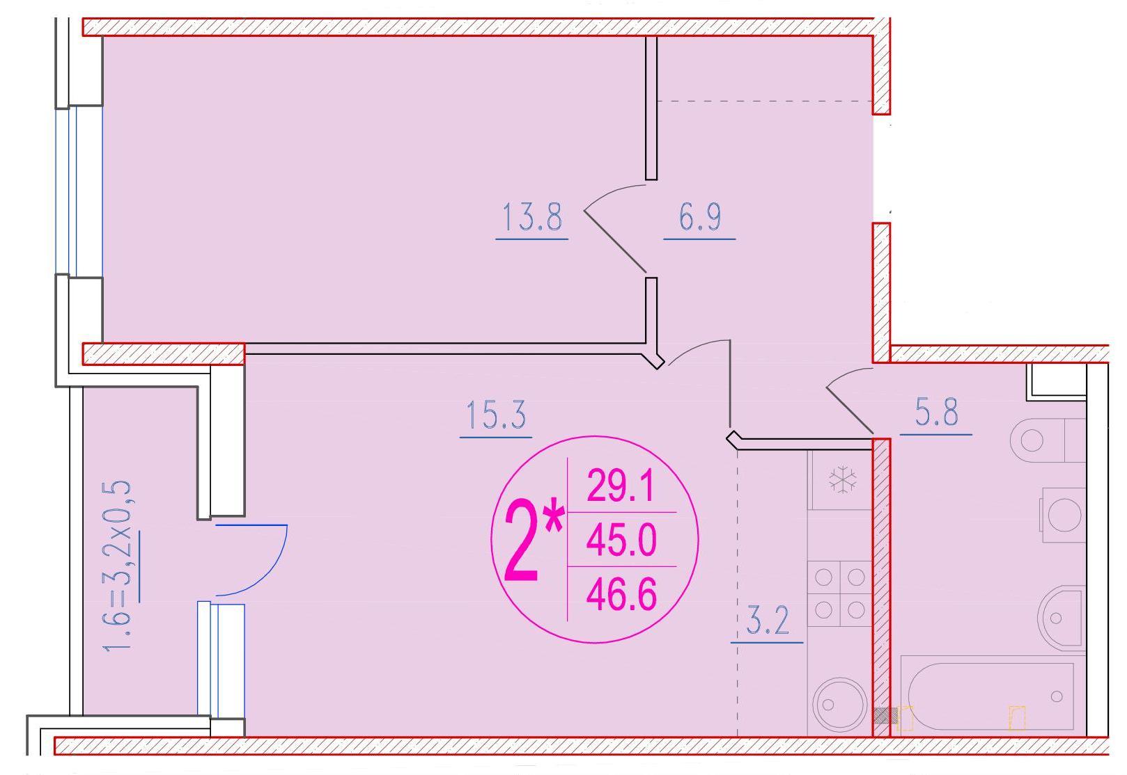 2-комнатная смарт 46.6<span>м<sup>2</sup></span>