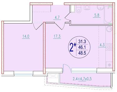 2-комнатная смарт 48.5<span>м<sup>2</sup></span>