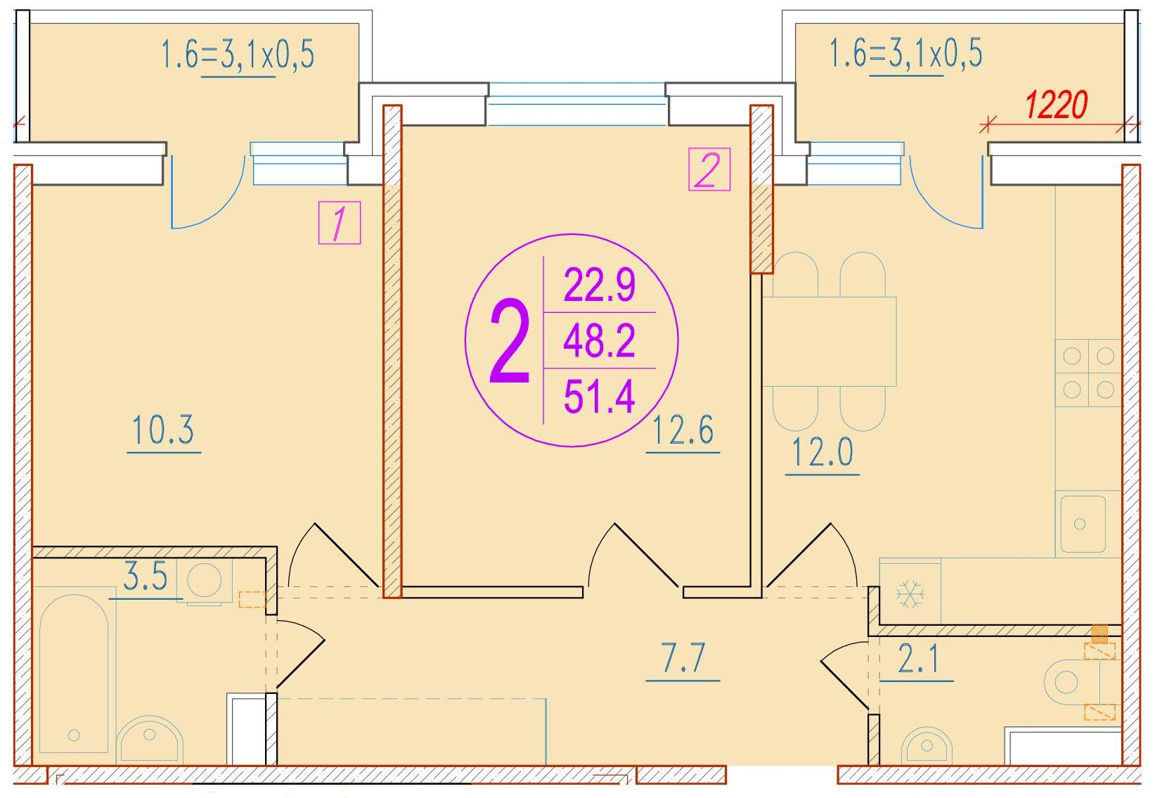 2-комнатная 51.4<span>м<sup>2</sup></span>