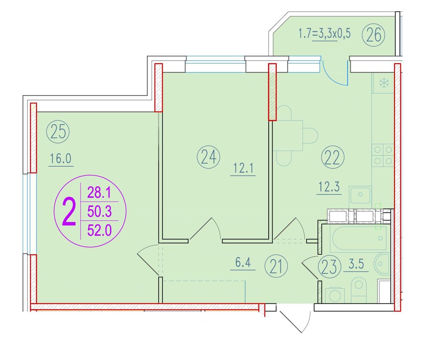 2-комнатная 52<span>м<sup>2</sup></span>