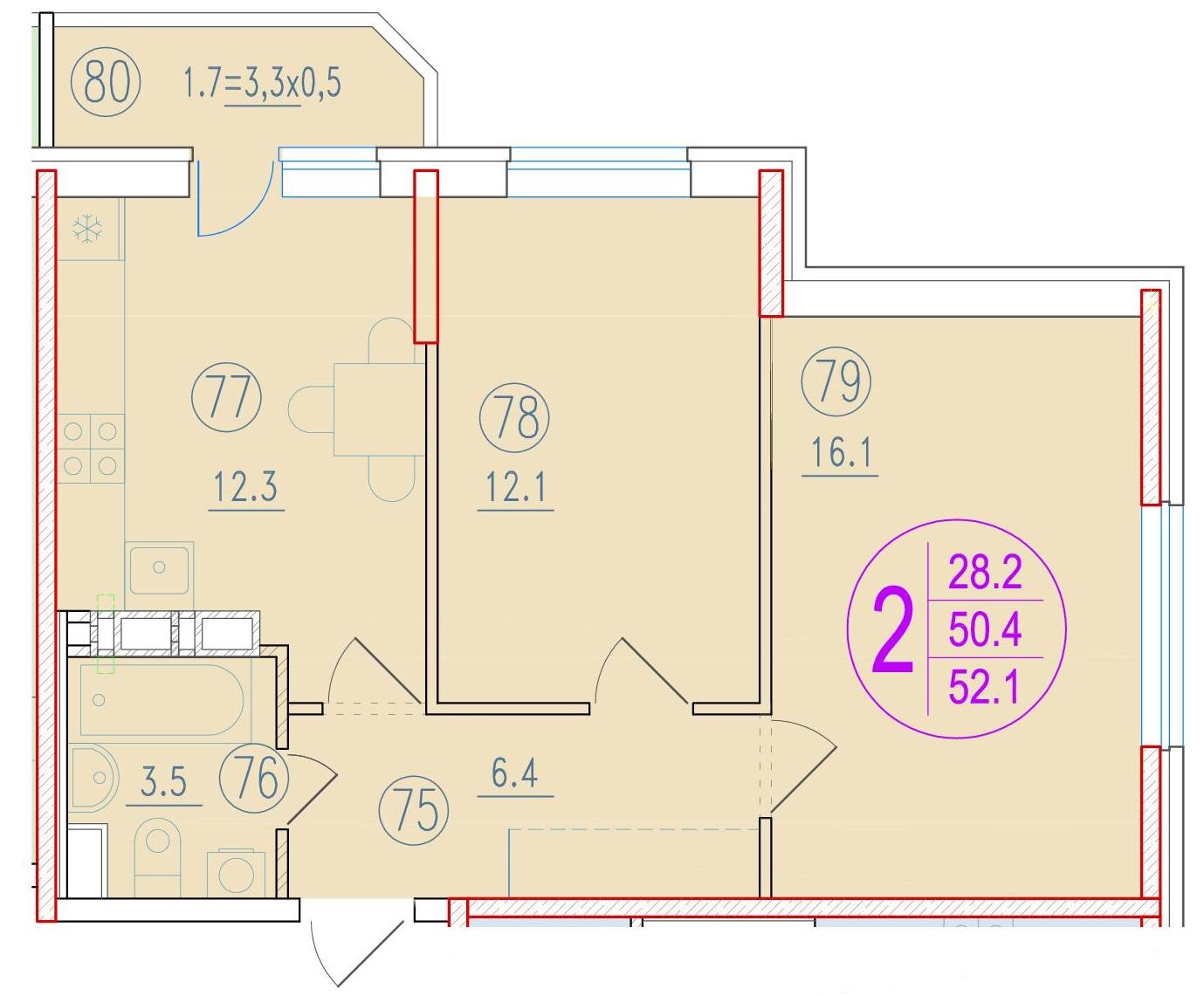 2-комнатная 52.1<span>м<sup>2</sup></span>