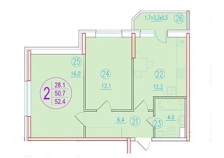 2-комнатная 52.4<span>м<sup>2</sup></span>