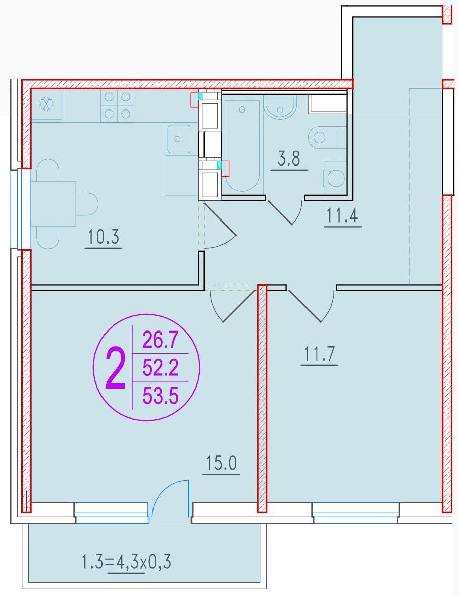2-комнатная 53.5<span>м<sup>2</sup></span>
