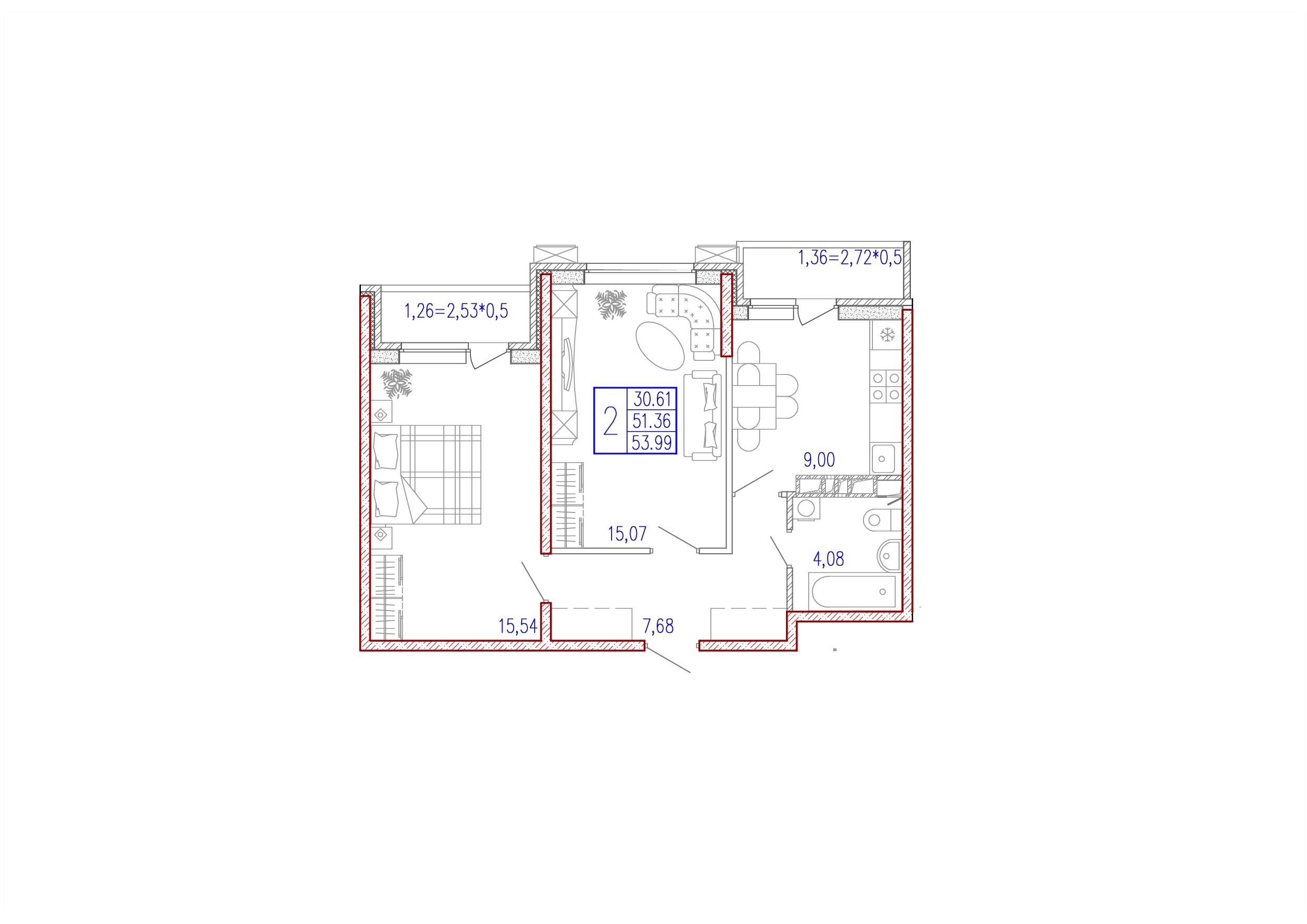 2-комнатная 53.99<span>м<sup>2</sup></span>