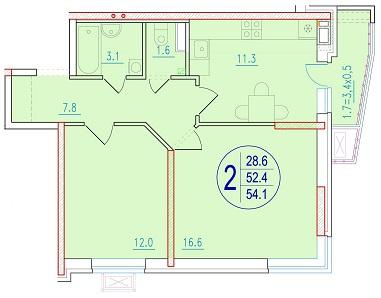 2-комнатная 54.1<span>м<sup>2</sup></span>