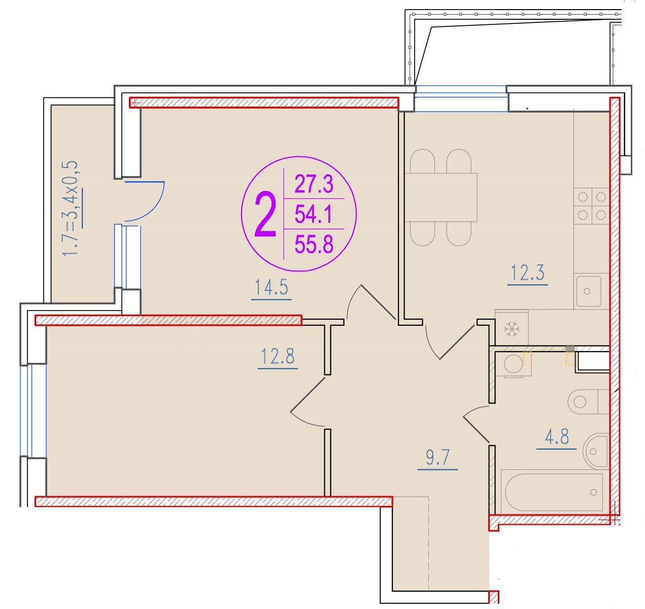2-комнатная 55.8<span>м<sup>2</sup></span>